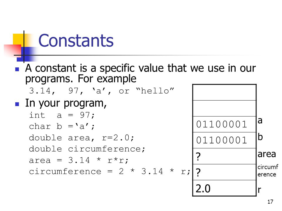 """17 Constants A constant is a specific value that we use in our programs. For example 3.14, 97, 'a', or """"hello"""" In your program, int a = 97; char b ='a"""