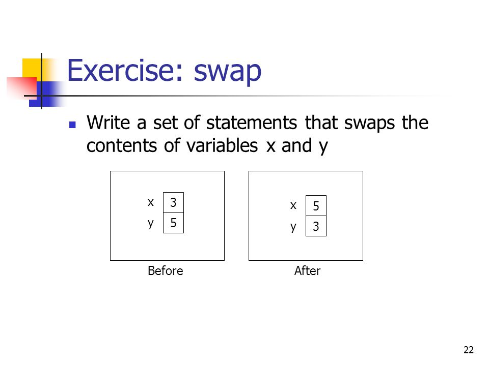 22 Exercise: swap Write a set of statements that swaps the contents of variables x and y 3 5 x y BeforeAfter 5 3 x y