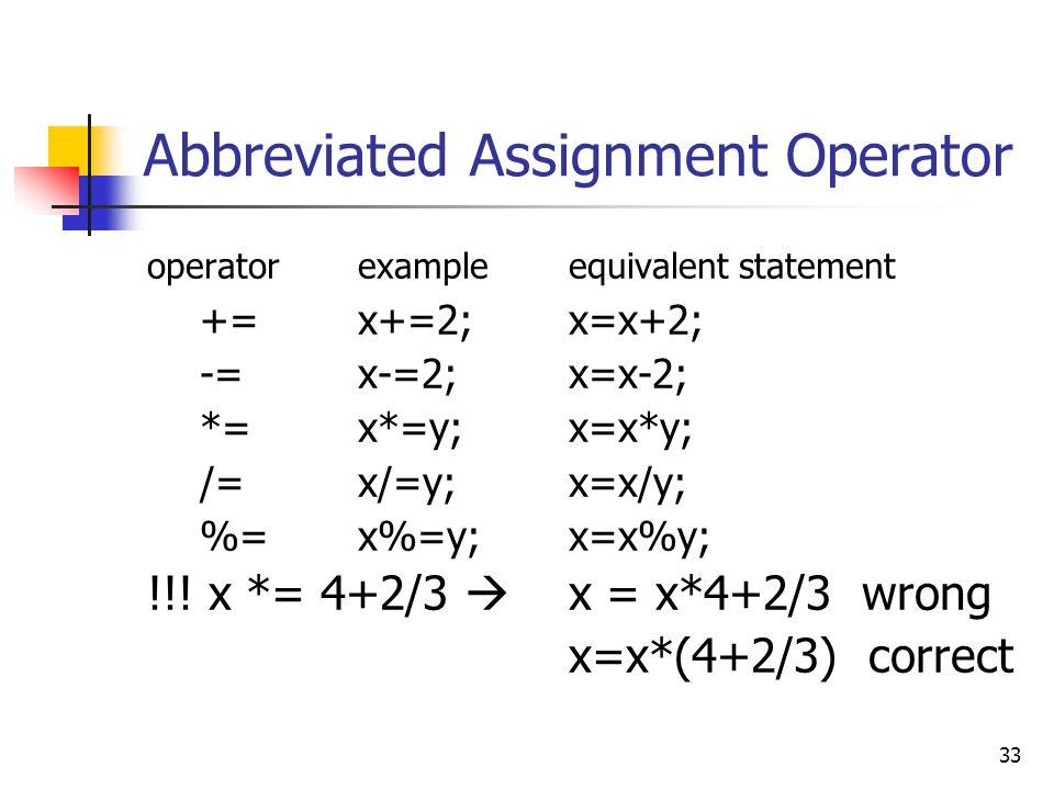 33 Abbreviated Assignment Operator operatorexampleequivalent statement +=x+=2; x=x+2; -=x-=2;x=x-2; *=x*=y;x=x*y; /=x/=y;x=x/y; %=x%=y;x=x%y; !!! x *=