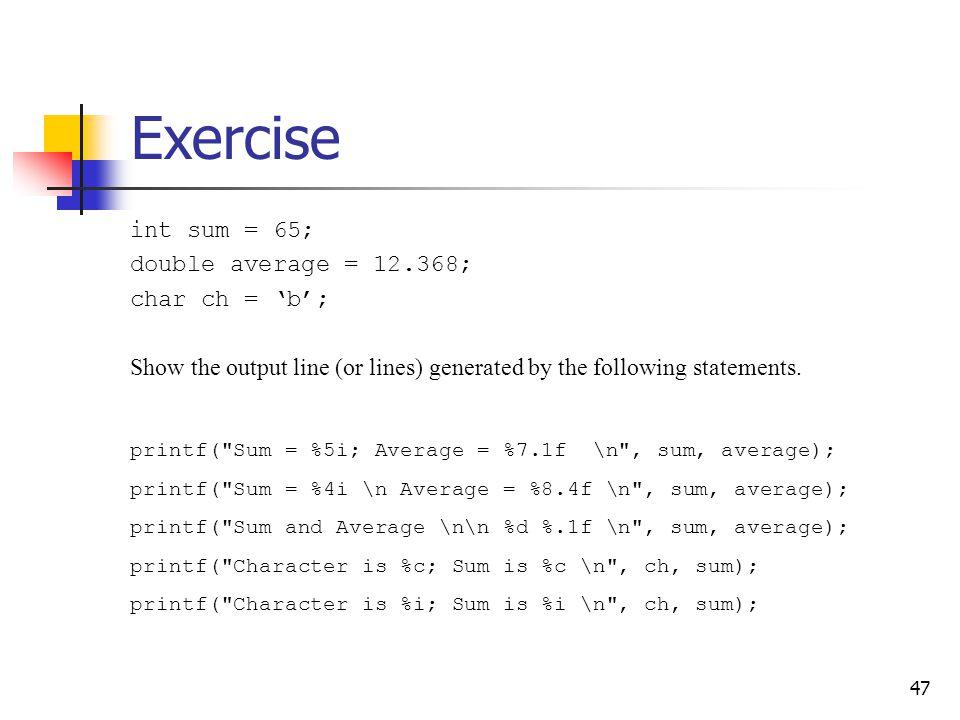 47 Exercise printf(