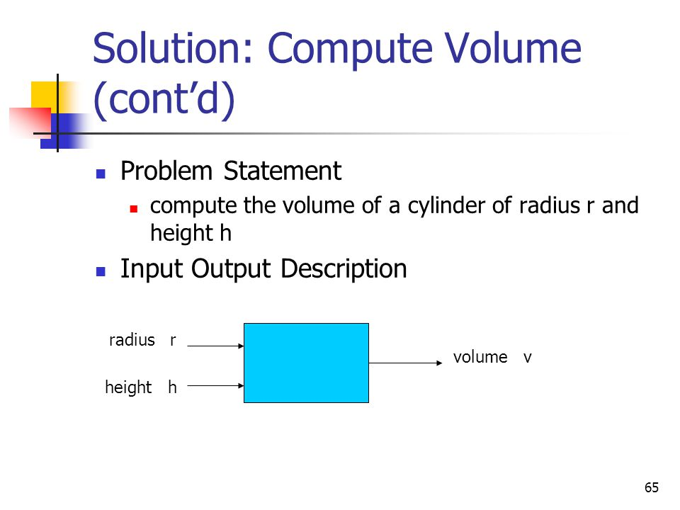 65 Solution: Compute Volume (cont'd) Problem Statement compute the volume of a cylinder of radius r and height h Input Output Description radius r hei