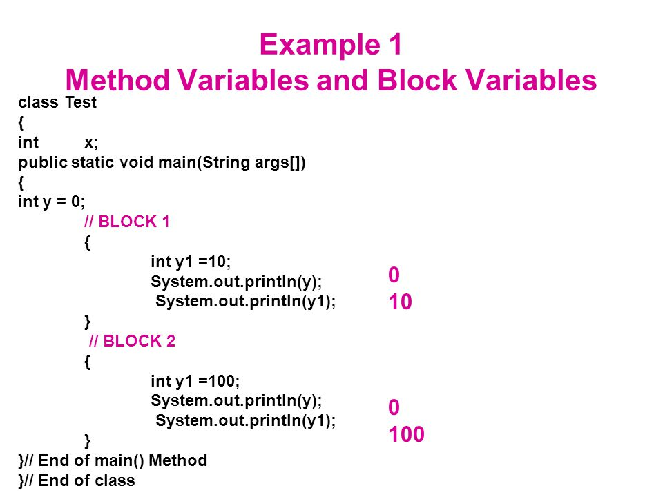 Example 1 Method Variables and Block Variables class Test { intx; public static void main(String args[]) { int y = 0; // BLOCK 1 { int y1 =10; System.