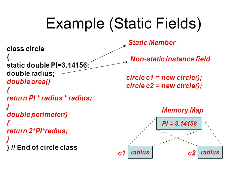 Example (Static Fields) class circle { static double PI=3.14156; double radius; double area() { return PI * radius * radius; } double perimeter() { re