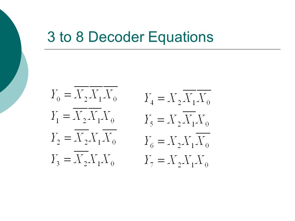3 to 8 Decoder Equations