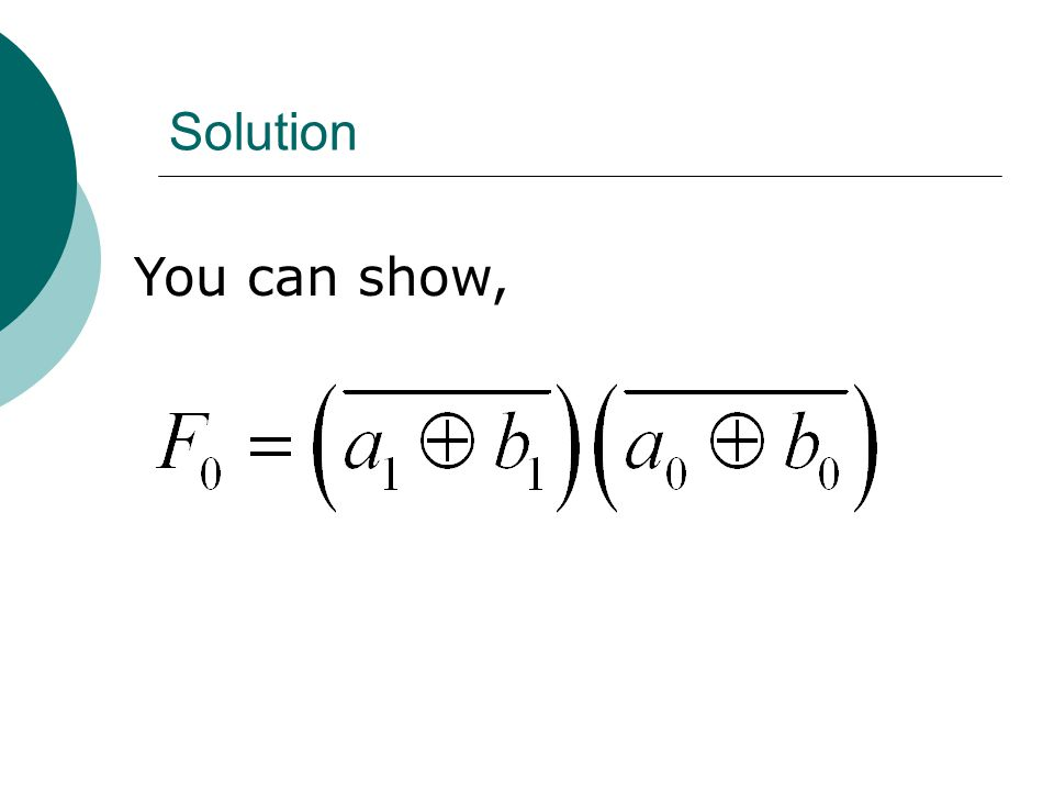 Solution You can show,