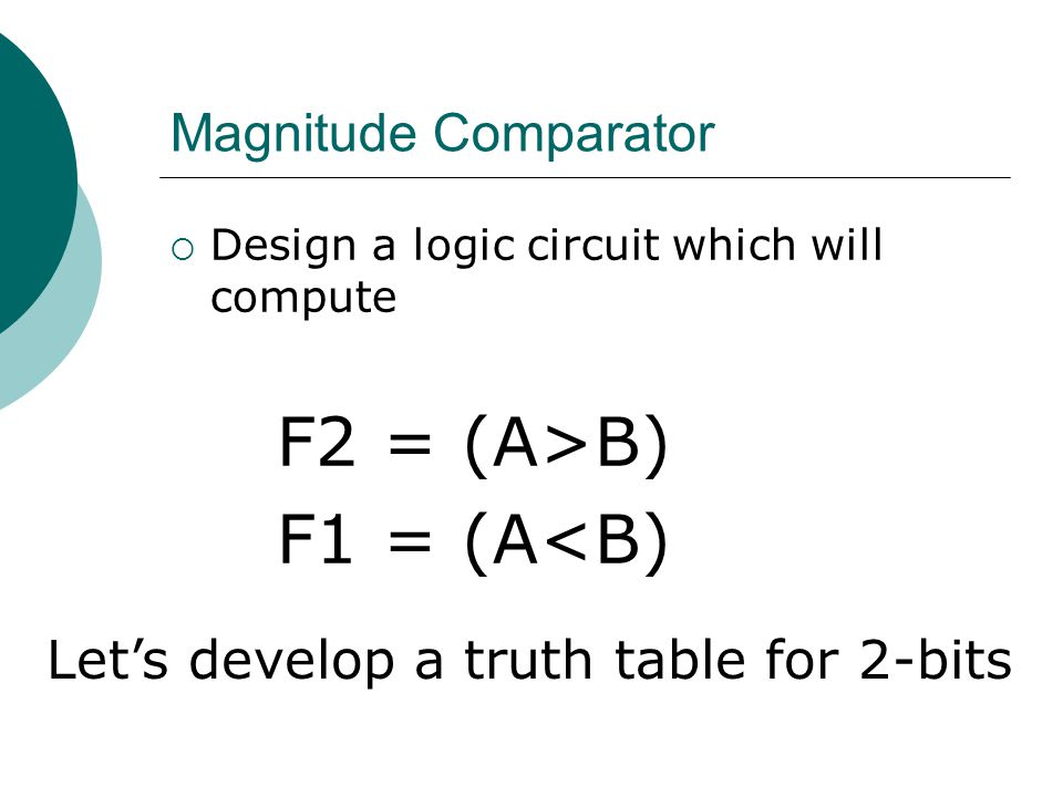 Magnitude Comparator  Design a logic circuit which will compute F2 = (A>B) F1 = (A<B) Let's develop a truth table for 2-bits