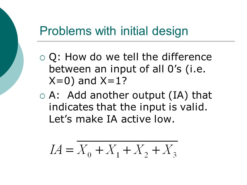 Problems with initial design  Q: How do we tell the difference between an input of all 0's (i.e. X=0) and X=1?  A: Add another output (IA) that indi