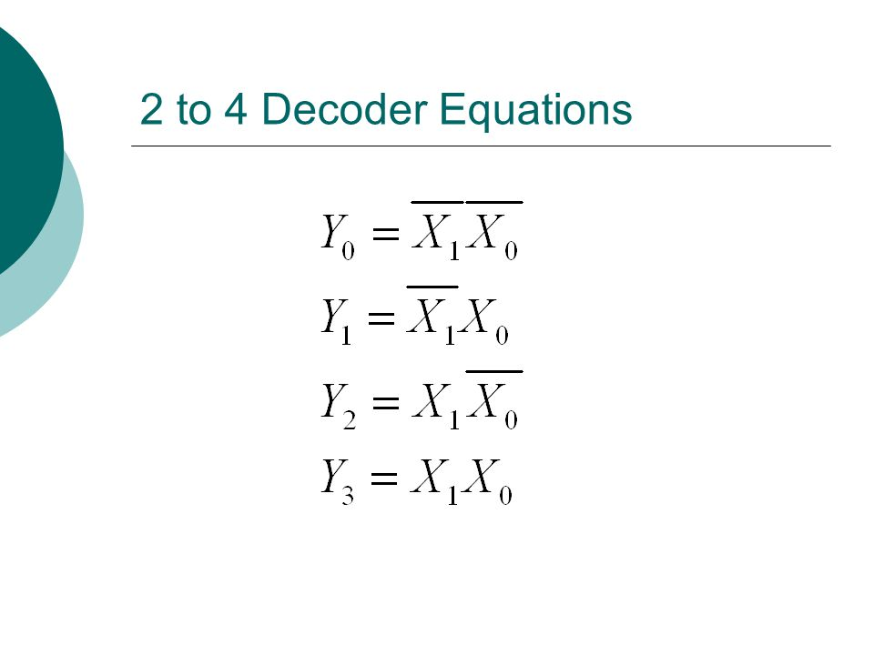 Example  Design a 3x8 decoder using only 2x4 decoders and NOT gates.