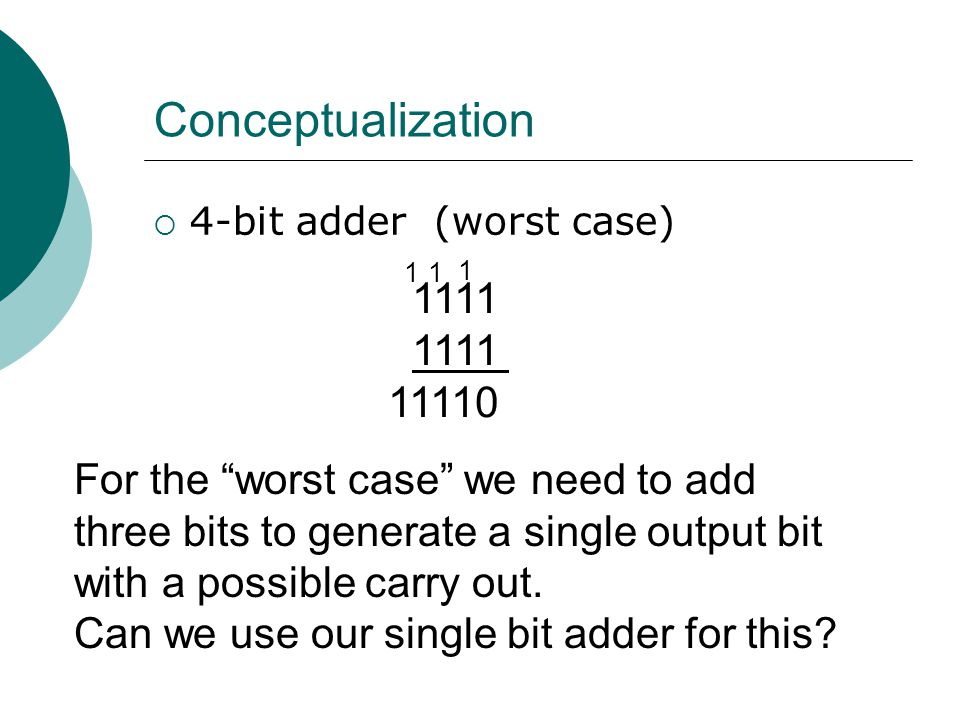 "Conceptualization  4-bit adder (worst case) 1111 11110 1 11 For the ""worst case"" we need to add three bits to generate a single output bit with a pos"