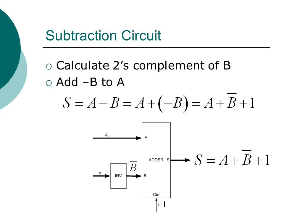  Calculate 2's complement of B  Add –B to A