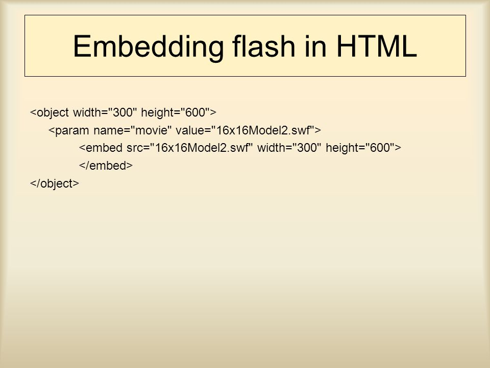 Embedding flash in HTML