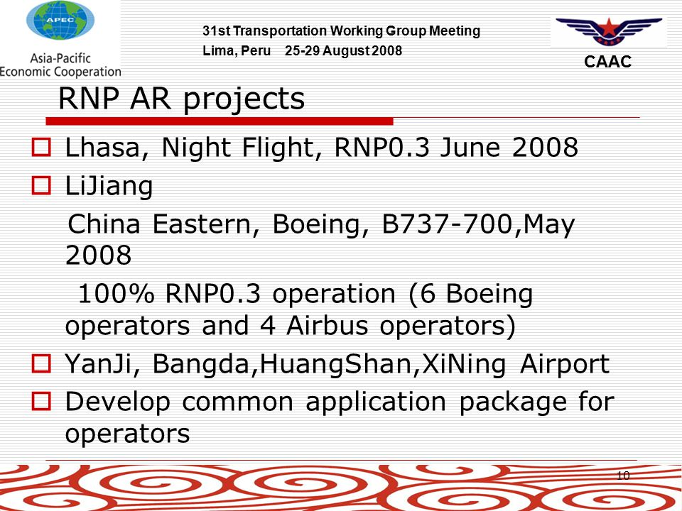 31st Transportation Working Group Meeting Lima, Peru 25-29 August 2008 CAAC 10 RNP AR projects  Lhasa, Night Flight, RNP0.3 June 2008  LiJiang China Eastern, Boeing, B737-700,May 2008 100% RNP0.3 operation (6 Boeing operators and 4 Airbus operators)  YanJi, Bangda,HuangShan,XiNing Airport  Develop common application package for operators