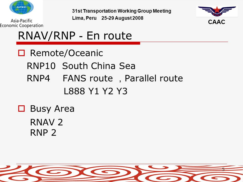 31st Transportation Working Group Meeting Lima, Peru 25-29 August 2008 CAAC 16 PBN Roadmap  According to ICAO ' s request  Guidance for fully implementing PBN  Time Frame:2009-2016-2025  Cooperation with Boeing  Expected to be released in March 2009