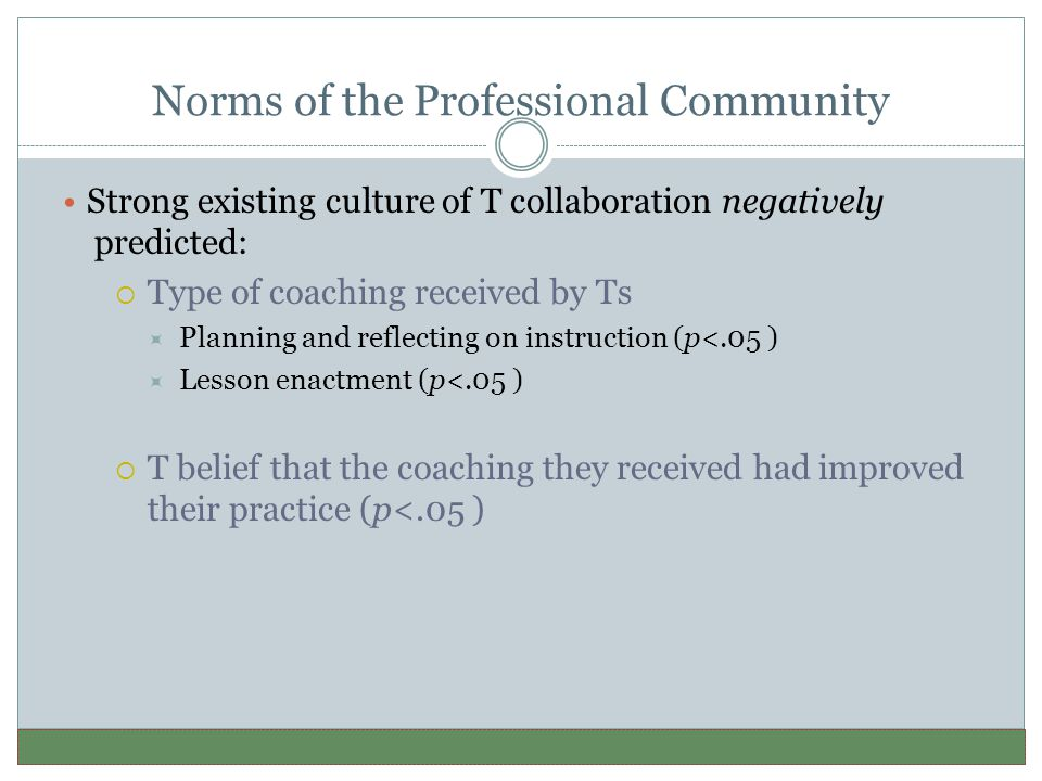 Norms of the Professional Community Strong existing culture of T collaboration negatively predicted:  Type of coaching received by Ts  Planning and reflecting on instruction (p<.05 )  Lesson enactment (p<.05 )  T belief that the coaching they received had improved their practice (p<.05 )