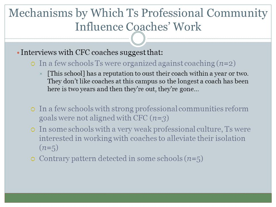 Mechanisms by Which Ts Professional Community Influence Coaches' Work Interviews with CFC coaches suggest that:  In a few schools Ts were organized against coaching (n=2)  [This school] has a reputation to oust their coach within a year or two.