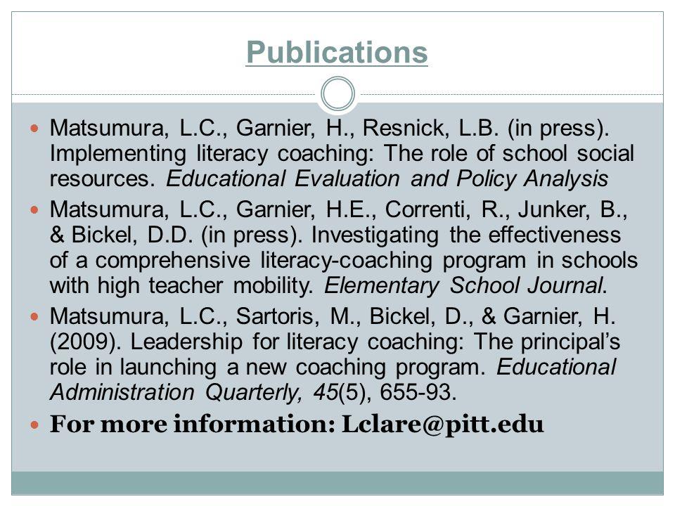 Publications Matsumura, L.C., Garnier, H., Resnick, L.B.
