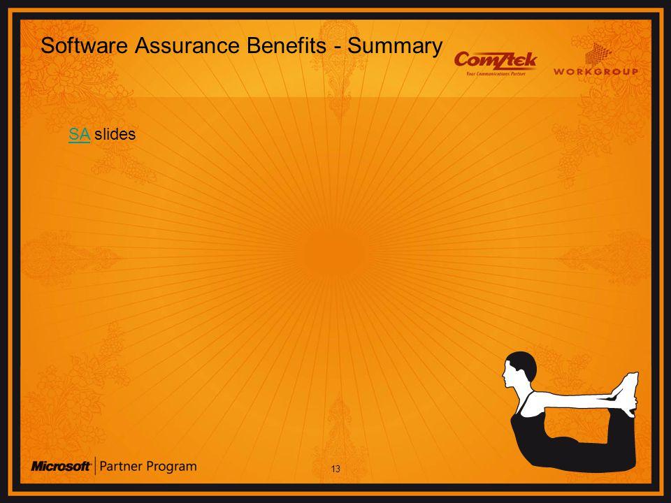 13 Software Assurance Benefits - Summary SASA slides