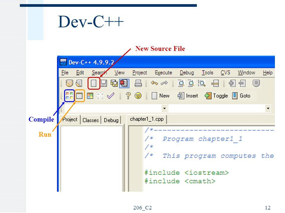 206_C212 Dev-C++ New Source File Compile Run