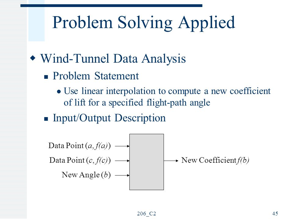 206_C245 Problem Solving Applied  Wind-Tunnel Data Analysis Problem Statement Use linear interpolation to compute a new coefficient of lift for a spe