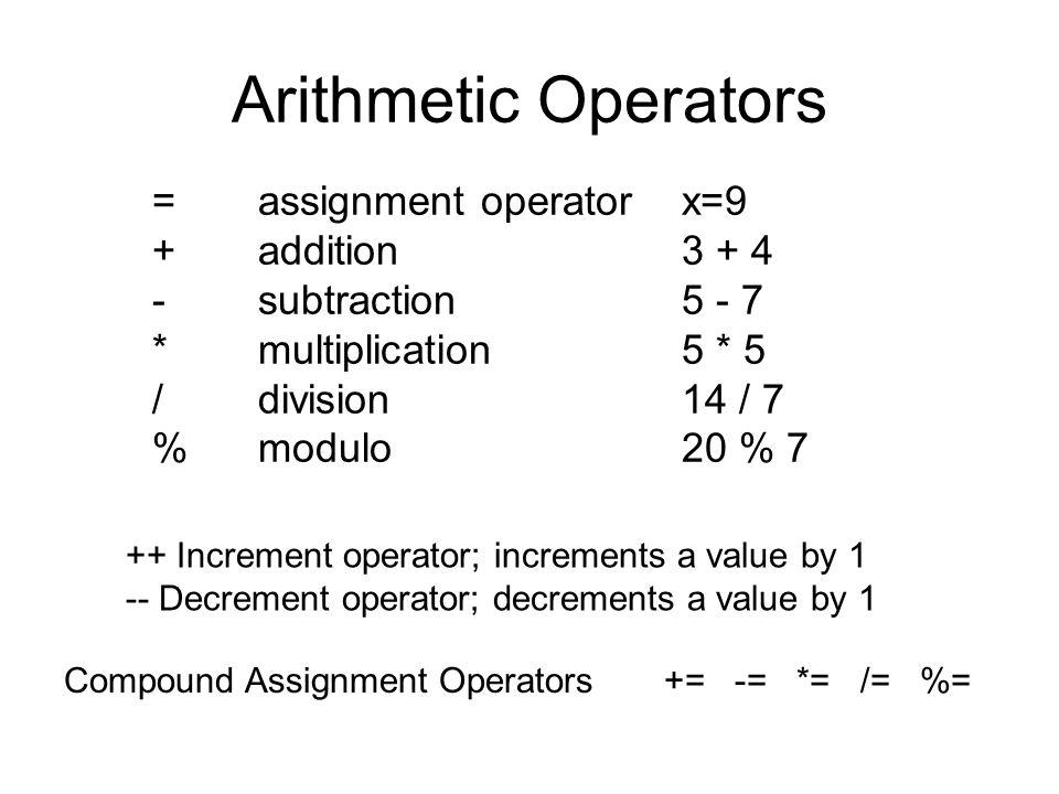 Arithmetic Operators = assignment operatorx=9 + addition 3 + 4 -subtraction 5 - 7 * multiplication 5 * 5 / division 14 / 7 % modulo 20 % 7 ++ Incremen