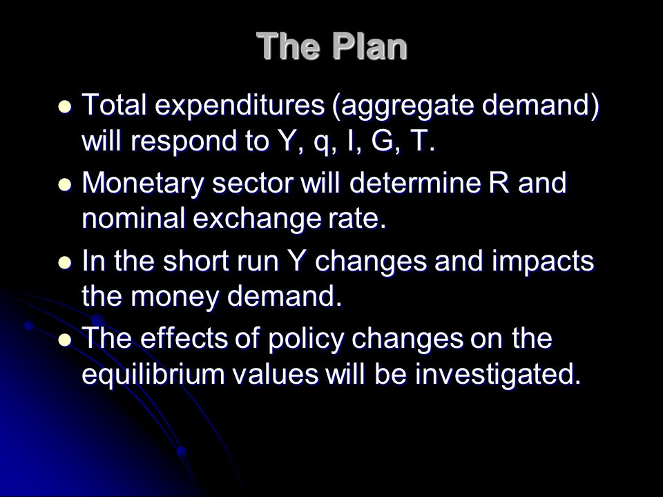 The Plan Total expenditures (aggregate demand) will respond to Y, q, I, G, T.