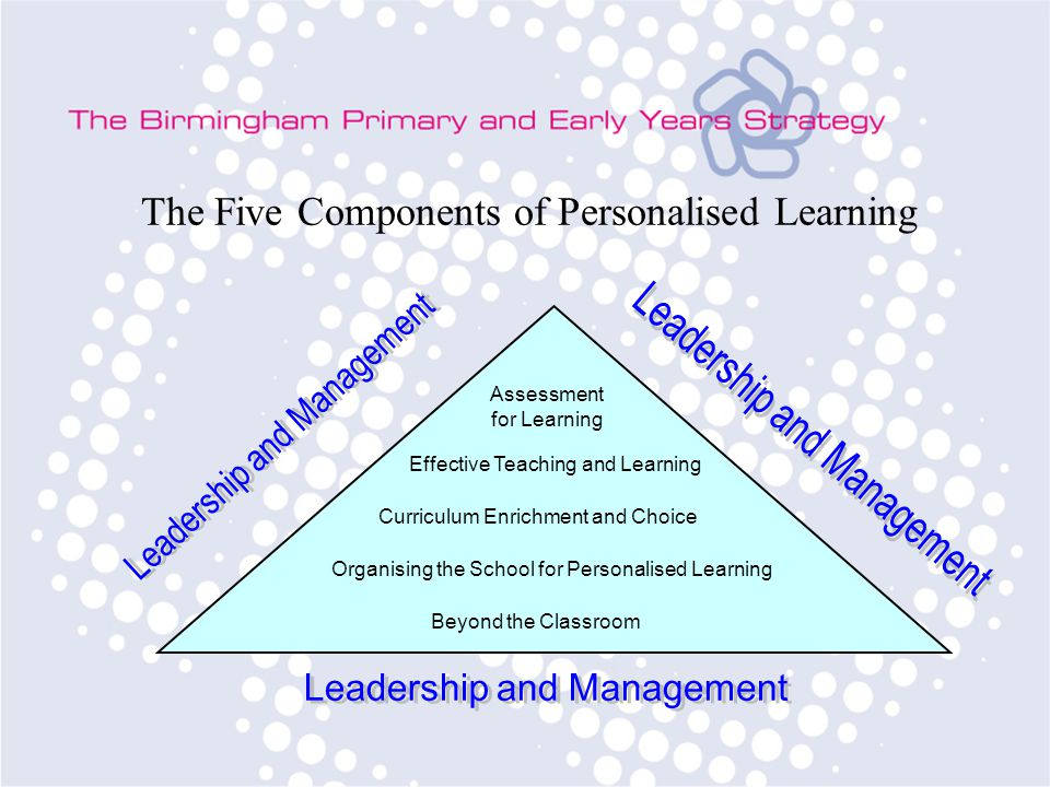 The Five Components of Personalised Learning Assessment for Learning Effective Teaching and Learning Curriculum Enrichment and Choice Organising the School for Personalised Learning Beyond the Classroom
