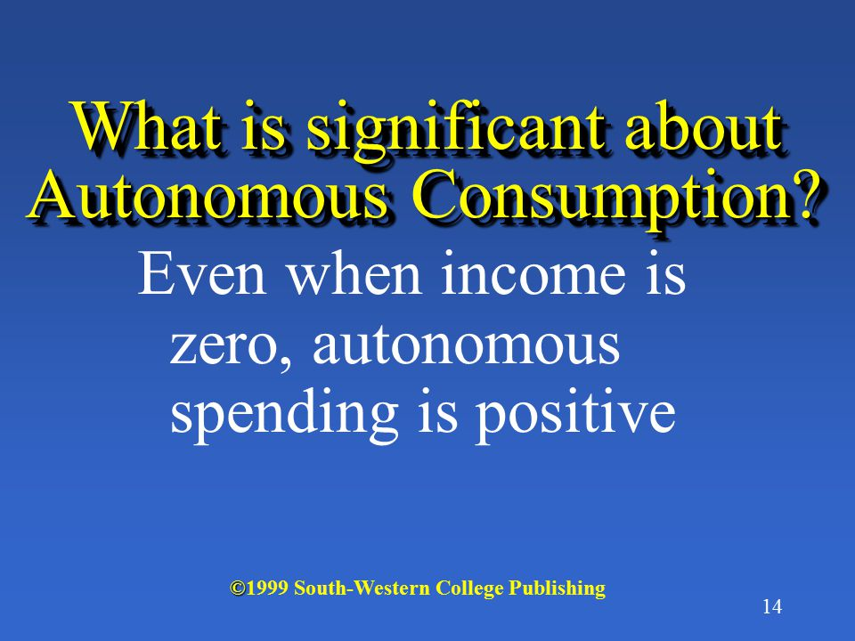 13 What is Autonomous Consumption? Consumption spending that is independent of the level of income © ©1999 South-Western College Publishing