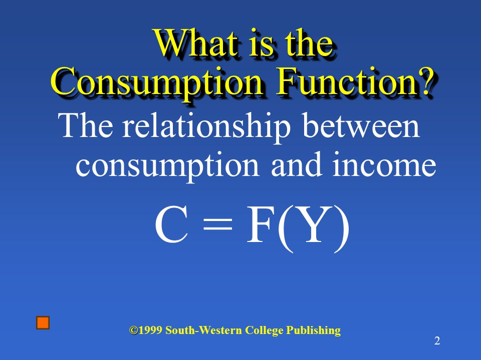 1 Chapter 21 Consumption & Investment 4/13/2015 © ©1999 South-Western College Publishing
