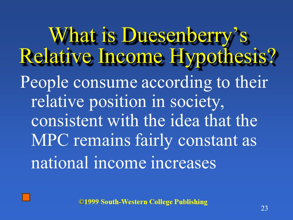 22 What did Kuznets say in his book? MPC tends to remain fairly constant regardless of the absolute level of national income © ©1999 South-Western Col
