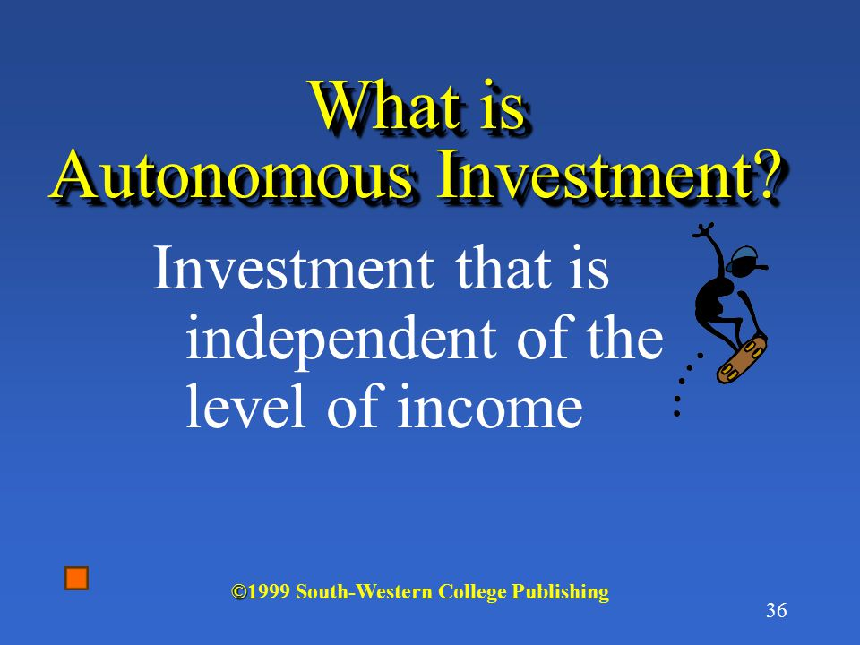 35 What is Intended Investment? Investment spending that producers intend to undertake, on plant, tools, construction, and inventory © ©1999 South-Wes