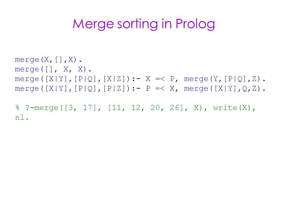 Merge sorting in Prolog merge(X,[],X). merge([], X, X).