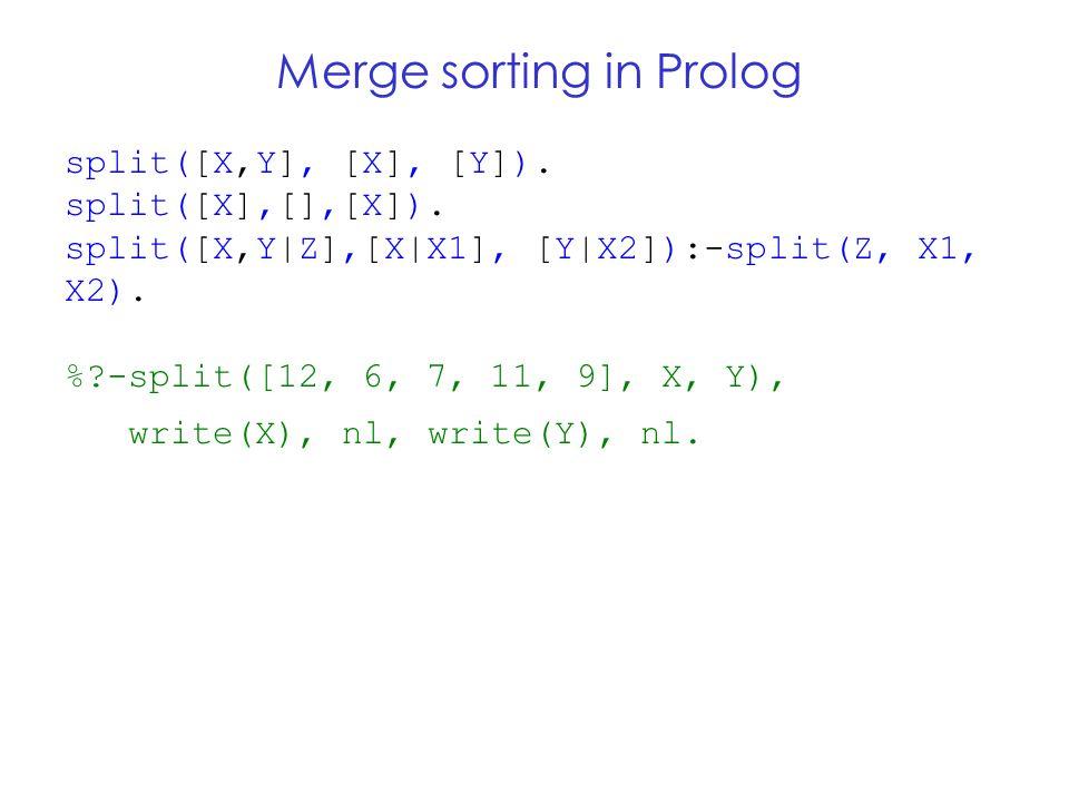 Merge sorting in Prolog split([X,Y], [X], [Y]). split([X],[],[X]).