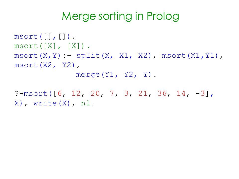 Merge sorting in Prolog msort([],[]). msort([X], [X]).