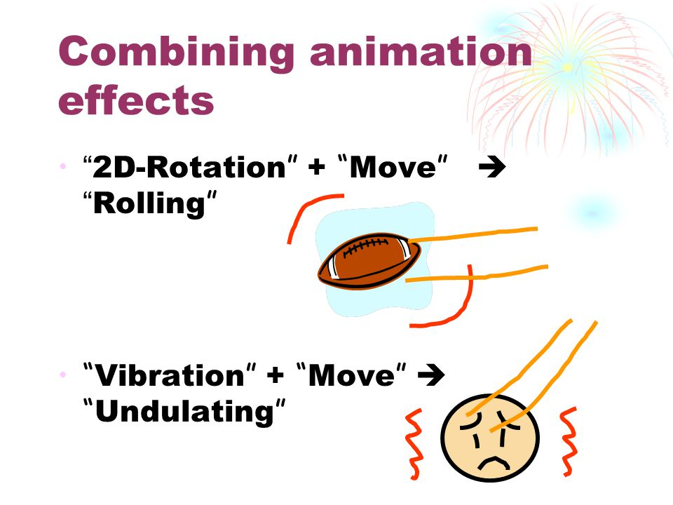 Combining animation effects 2D-Rotation + Move  Rolling Vibration + Move  Undulating