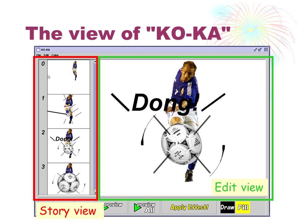 The view of KO-KA Story view Edit view
