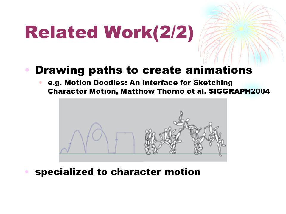 Related Work(2/2) Drawing paths to create animations e.g. Motion Doodles: An Interface for Sketching Character Motion, Matthew Thorne et al. SIGGRAPH2