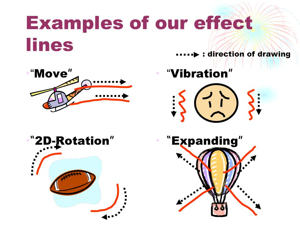 Examples of our effect lines Move 2D-Rotation Vibration Expanding : direction of drawing