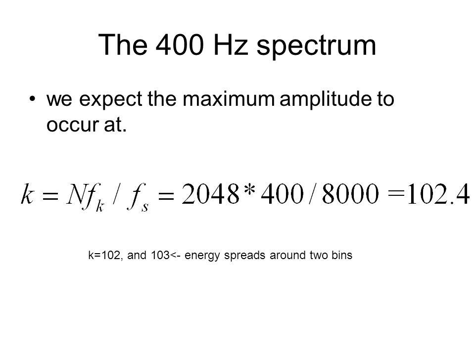 The 400 Hz spectrum we expect the maximum amplitude to occur at.