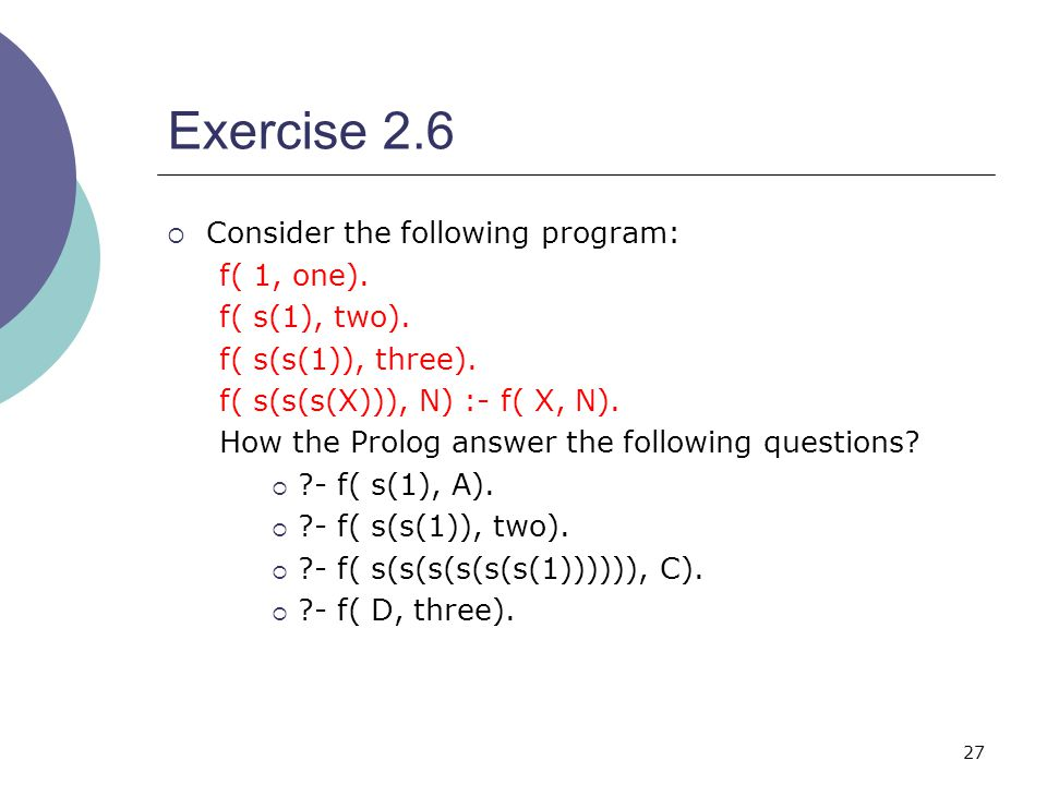 27 Exercise 2.6  Consider the following program: f( 1, one).