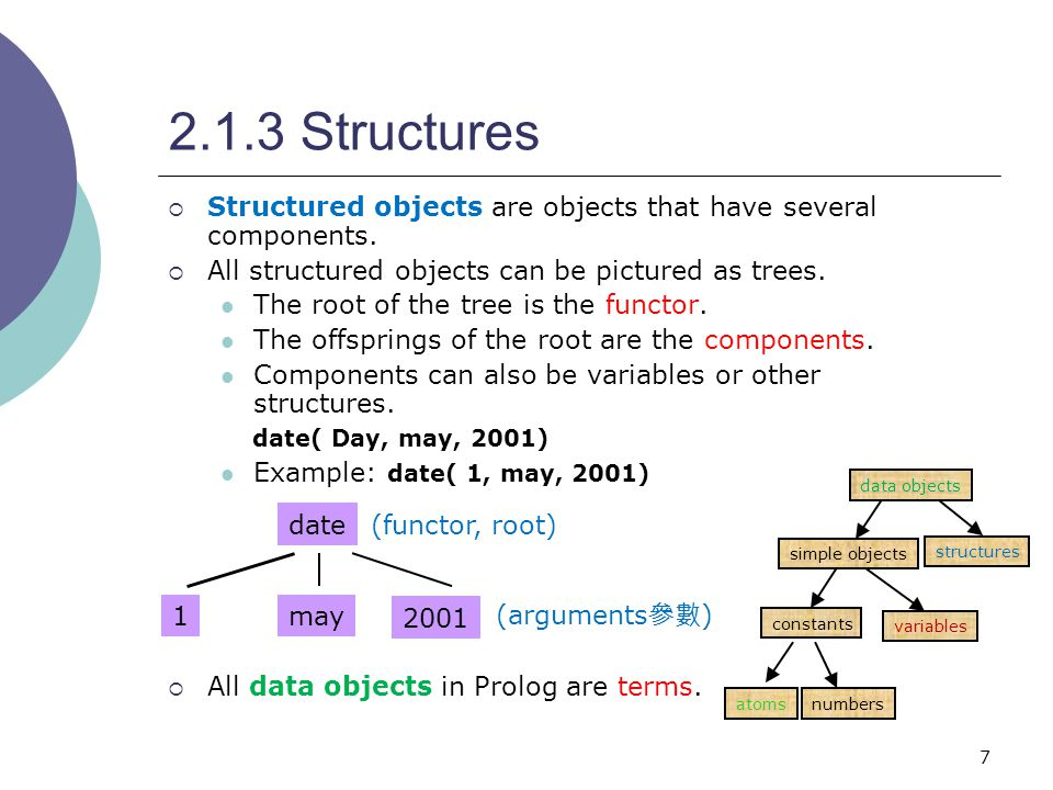 7 2.1.3 Structures  Structured objects are objects that have several components.