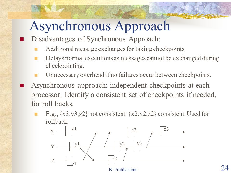 B. Prabhakaran 24 Asynchronous Approach Disadvantages of Synchronous Approach: Additional message exchanges for taking checkpoints Delays normal execu