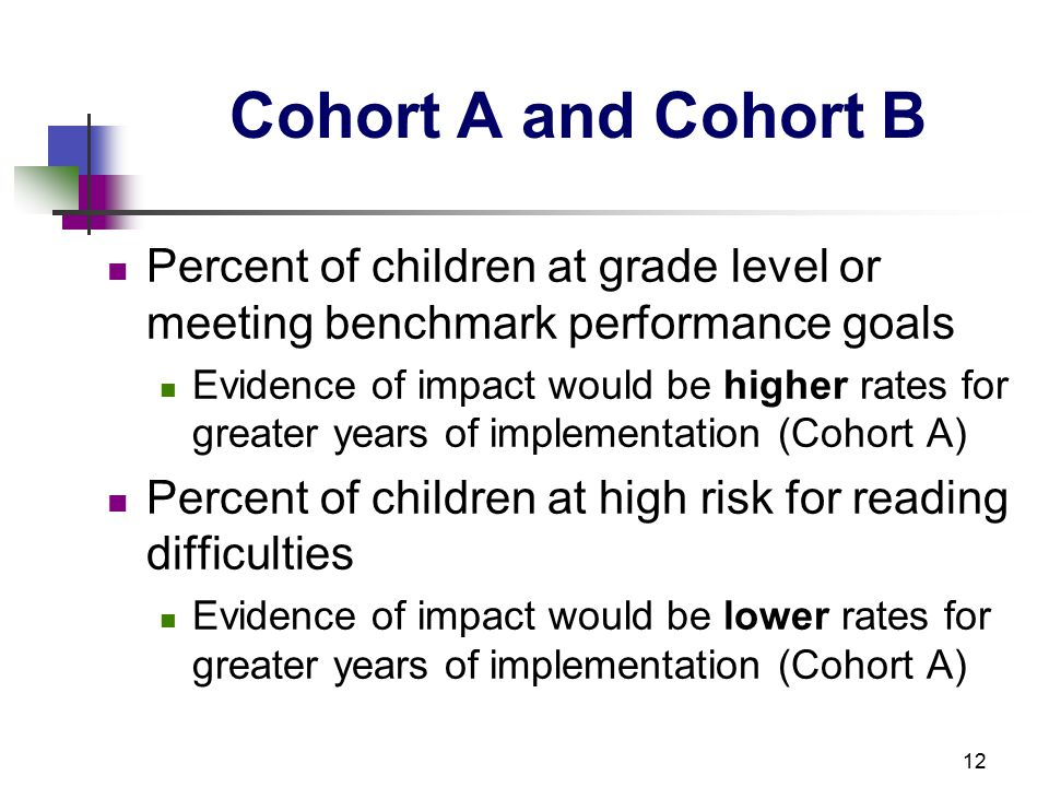 12 Cohort A and Cohort B Percent of children at grade level or meeting benchmark performance goals Evidence of impact would be higher rates for greater years of implementation (Cohort A) Percent of children at high risk for reading difficulties Evidence of impact would be lower rates for greater years of implementation (Cohort A)