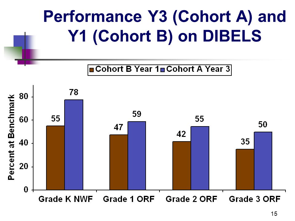 15 Performance Y3 (Cohort A) and Y1 (Cohort B) on DIBELS