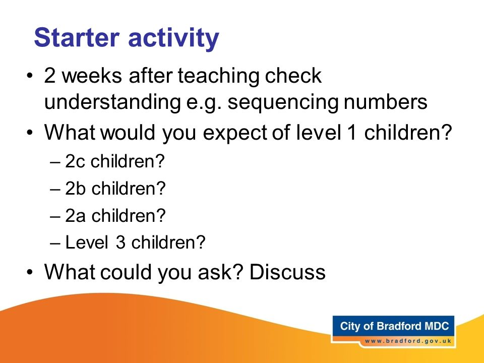 Starter activity 2 weeks after teaching check understanding e.g.