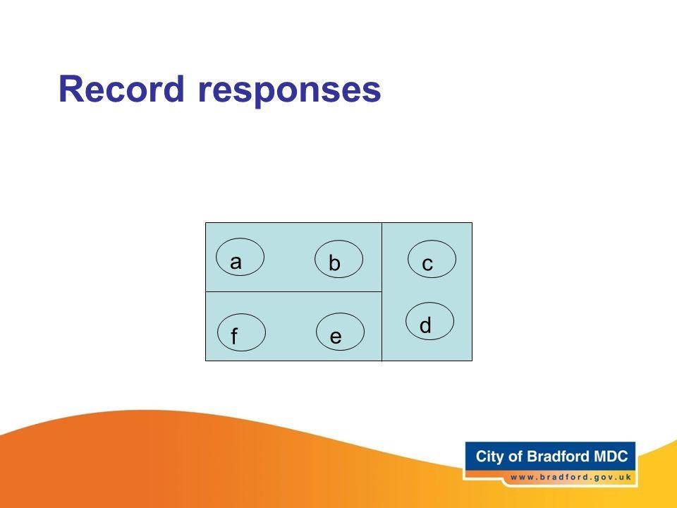 Record responses a bc d e f