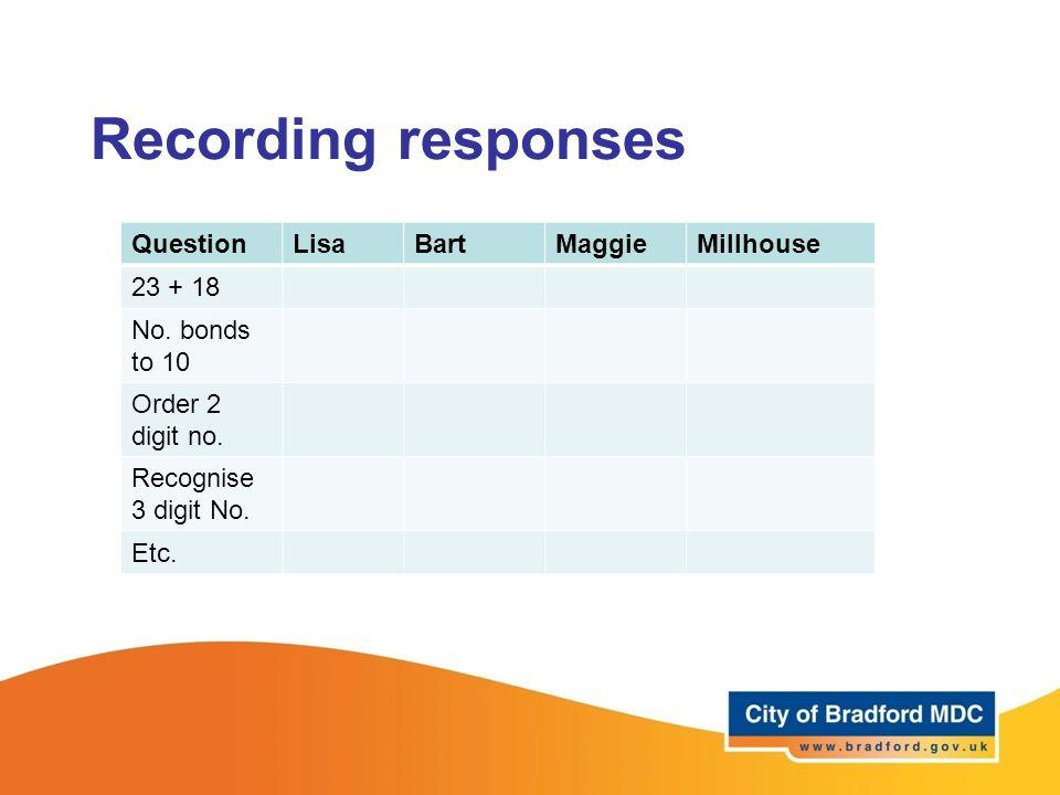 Recording responses QuestionLisaBartMaggieMillhouse 23 + 18 No.