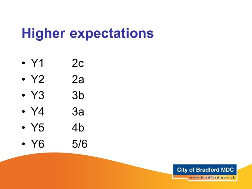 Higher expectations Y1 2c Y22a Y33b Y43a Y54b Y65/6