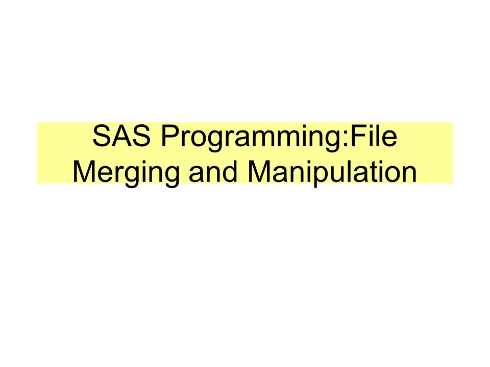 SAS Programming:File Merging and Manipulation