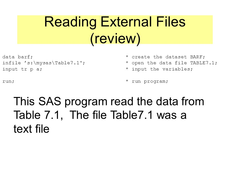 Reading External Files (review) data barf; * create the dataset BARF; infile 's:\mysas\Table7.1 ; * open the data file TABLE7.1; input tr p a; * input the variables; run; * run program; This SAS program read the data from Table 7.1, The file Table7.1 was a text file