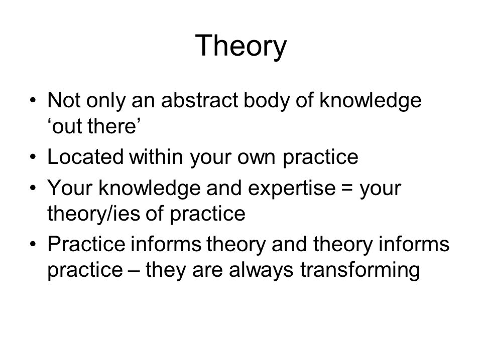 Theory Not only an abstract body of knowledge 'out there' Located within your own practice Your knowledge and expertise = your theory/ies of practice